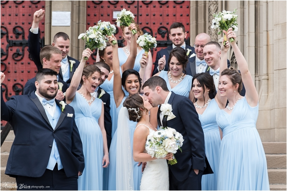 bridal party photos on the steps of Heinz Chapel