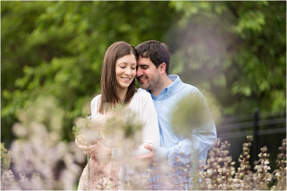 Engagement session in the flower garden at the Hartwood Acres Mansion.