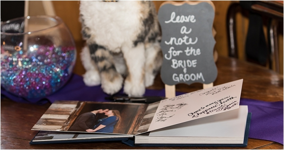 Custom guestbook with engagement session images.
