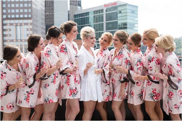 Bridal party on terrace at Renaissance Pittsburgh Hotel wedding