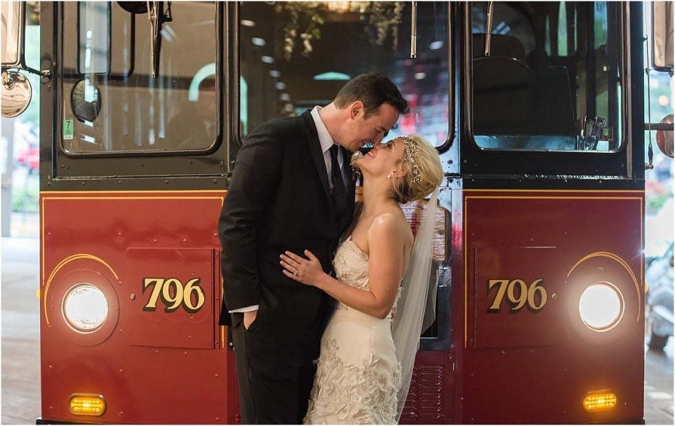 Bride and groom infront of Trolley at Renaissance Pittsburgh Hotel wedding.