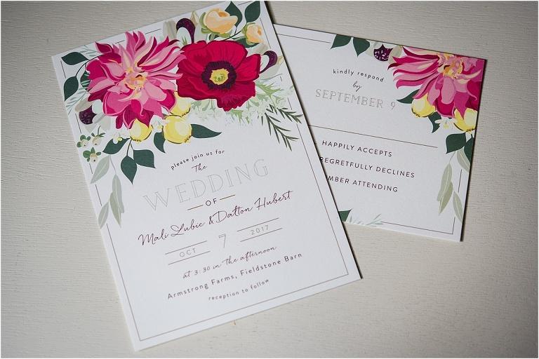 Armstrong Farms bridal suite details.