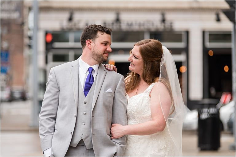 Bride and groom portraits on the North Shore Pittsburgh wedding.