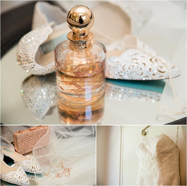 Bridal details for Rivers Casino Pittsburgh wedding.