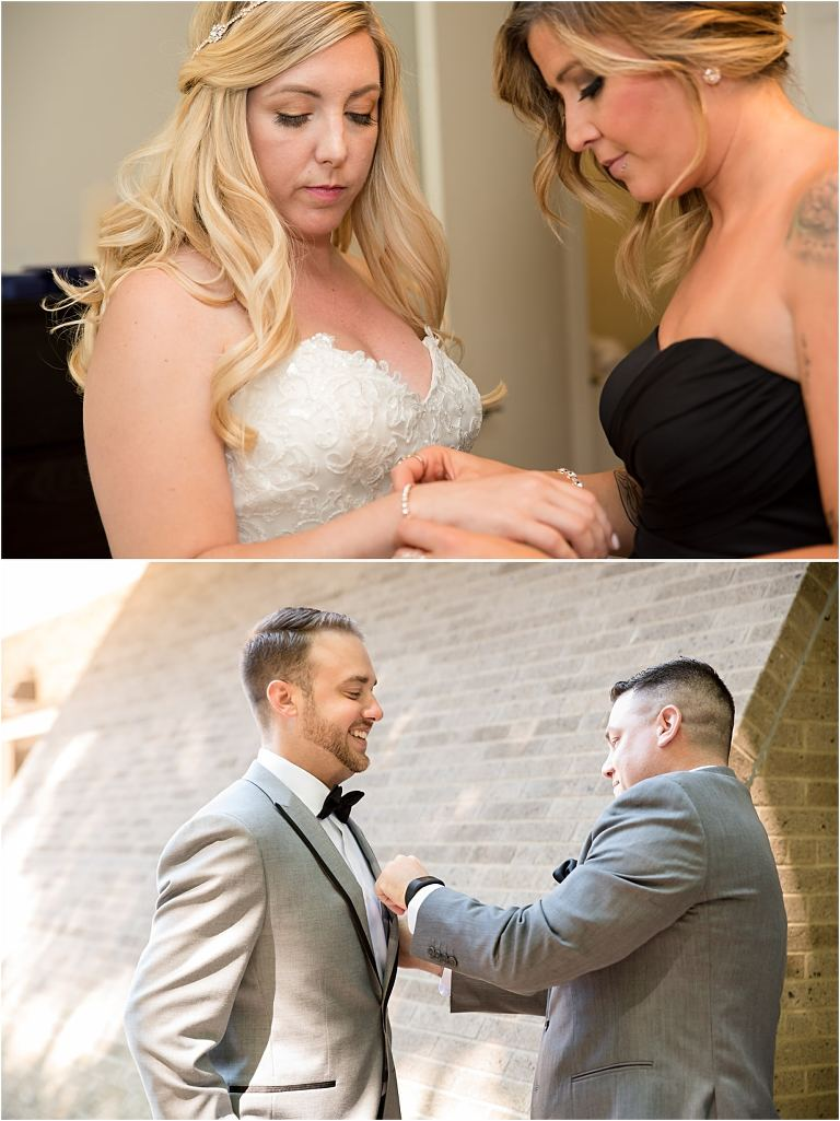 Bridal and groom prep for Pittsburgh wedding in downtown Pittsburgh.