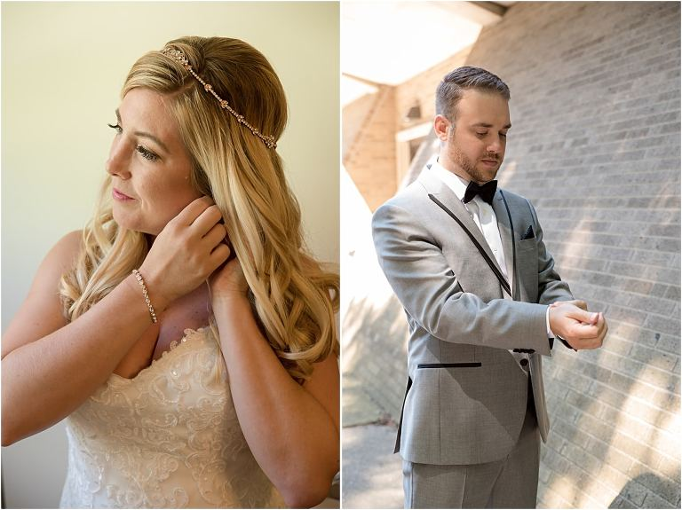 Bride and groom getting ready before Pittsburgh wedding.