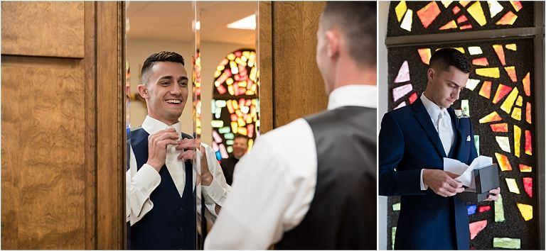 Groom getting ready for Buhl Park Wedding.