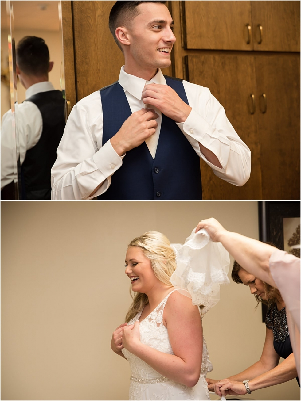 Bride and groom getting ready for Buhl Park Wedding.