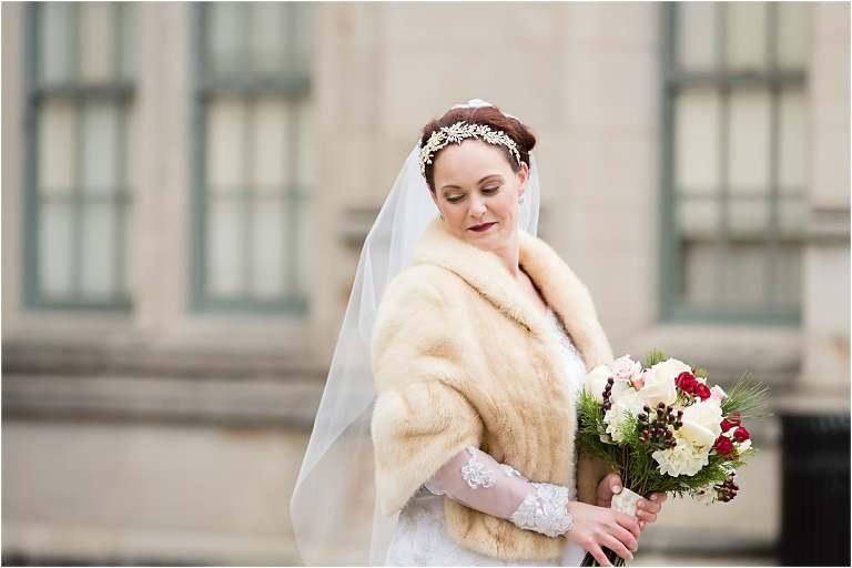 Pittsburgh winter bride portraits.