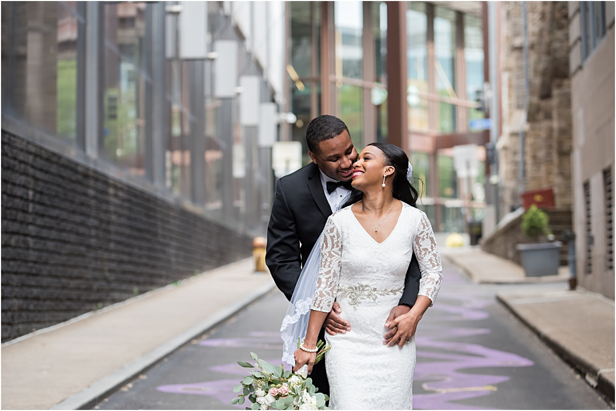 Downtown Pittsburgh wedding portraits.
